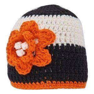 🆕Hand-Crocheted Black, White, & Orange Flower Hat